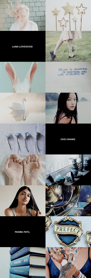 tellshimreal: Ladies + Aesthetics: Women of Ravenclaw House Where those of wit and learning will always find their kind : LUNA LOVEGOOD  EVER ASHAMED  OF SOME TXİNG YOU  LIKE OR BELIEVE IN   CHO CHANG   PADMA PATIL tellshimreal: Ladies + Aesthetics: Women of Ravenclaw House Where those of wit and learning will always find their kind
