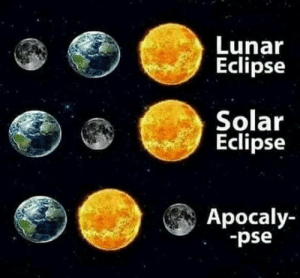 We are doomed: Lunar  Eclipse  Solar  Eclipse  Apocaly-  -pse We are doomed