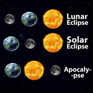 Eclipse, Looking, and Lunar Eclipse: Lunar  Eclipse  Solar  Eclipse  Apocaly-  sd- Looking forward to it