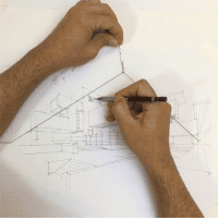 School, Shit, and Tumblr: lunariagold:  itscolossal:  WATCH: Ingenious Hack for Sketching with Two Point Perspective Using an Elastic String [video]  Oh look… MORE AWESOME SHIT NOBODY TOLD ME IN ART SCHOOL