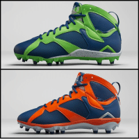 Air Jordan, Jordans, and Nfl: LUNARLON Jordan Brand hooks up NFL stars with custom Air Jordan VII cleats (these belong to Earl Thomas & Alshon Jeffery). 💯💯💯