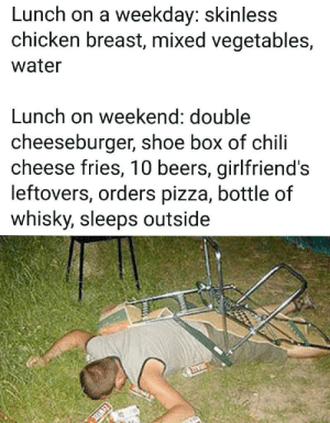 Fat drunk by per_alt_delete FOLLOW 4 MORE MEMES.: Lunch on a weekday: skinless  chicken breast, mixed vegetables,  water  Lunch on weekend: double  cheeseburger, shoe box of chili  cheese fries, 10 beers, girlfriend's  leftovers, orders pizza, bottle of  whisky, sleeps outside Fat drunk by per_alt_delete FOLLOW 4 MORE MEMES.