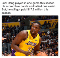 Nba, Game, and Got: Luol Deng played in one game this season.  He scored two points and tallied one assist.  But, he still got paid $17.2 million this  seasorn  wish  @NBAMEMES Luol Deng out here finessin. (Via ProCityHoops)