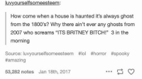 """Good question. 😂: luvyourselfsomeesteem:  How come when a house is haunted it's always ghost  from the 1800's? Why there ain't ever any ghosts from  2007 who screams """"ITS BRITNEY BITCH!"""" 3 in the  morning  Source: luvyourself some est  ttlol thorror #spooky  #amazing  53,282 notes Jan 18th, 2017 Good question. 😂"""