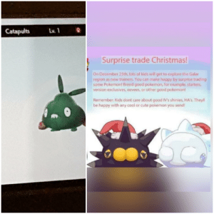 Doing my part for the superior siege engine by trading about 30 of those to random people. (This Pokemon is literally trash): Lv. 1  Catapults  Surprise trade Christmas!  On December 25th, lots of kids will get to explore the Galar  region as new trainers. You can make happy by surprise trading  some Pokemon! Breed good pokemon, for example, starters,  version exclusives, eevees, or other good pokemon!  Remember: Kids dont care about good IV's shinies, HA's. Theyll  be happy with any cool or cute pokemon you send! Doing my part for the superior siege engine by trading about 30 of those to random people. (This Pokemon is literally trash)