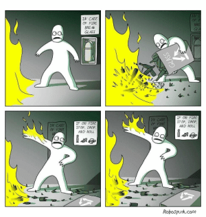 Dank, Fire, and Memes: LV  OF  IN CASE  OF FIRE  BREAK  GLASS  BR  IN CASE  OF FIRE  IF ON FIRE  STOP, DROP,  AND ROLL  IN CASE  OF FIRE  IF ON FIRE  STOP, DROP  AND ROLL  Robospunk.com Taking action by ollefrost MORE MEMES