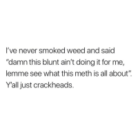 "Weed, Marijuana, and Never: l've never smoked weed and saic  ""damn this blunt ain't doing it for me,  lemme see what this meth is all about""  Yall just crackheads. For real"