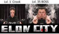 this is how tesla works: Lvl. 1 Crook  Lvl. 35 BOSS this is how tesla works