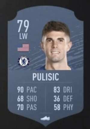 How can Christian Pulisic be American if he only has 68 shooting? https://t.co/hwZ9KyYNFF: LW  PULISIC  90 PAC  83 DRI  36 DEF  58 PHY  68 SHO  70 PAS  79 How can Christian Pulisic be American if he only has 68 shooting? https://t.co/hwZ9KyYNFF