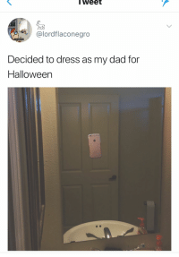 Dad, Pinterest, and Dress: lWeet  @lordflaconegro  Decided to dress as my dad for  Halloweern Pinterest: VIOLET