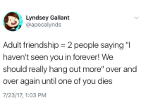 """Forever, Humans of Tumblr, and Friendship: Lyndsey Gallant  @apocalynds  Adult friendship-2 people saying""""  haven't seen you in forever! We  should really hang out more"""" over and  over again until one of you dies  7/23/17, 1:03 PM"""