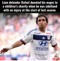 Children, Respect, and Soccer: Lyon defender Rafael donated his wages to  a children's charity when he was sidelined  with an injury at the start of last season.  Cegid  MDA  HYUNDA Respect!