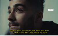 [n] ZAYN - BeFoUr: LYRICS  So say what you wanna say, what you want  Shame is you won't say that to my face [n] ZAYN - BeFoUr