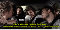 [jc] One Direction - No Control: LYRICS  Waking up beside you I'm a loaded gun  can't contain this anymore,l'm all yours, I got no control, no control [jc] One Direction - No Control