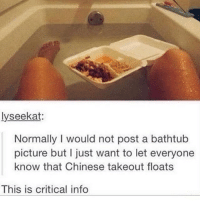 Friday, Memes, and Chinese: lyseekat:  Normally I would not post a bathtub  picture but I just want to let everyone  know that Chinese takeout floats  This is critical info that looks like a friday night plan