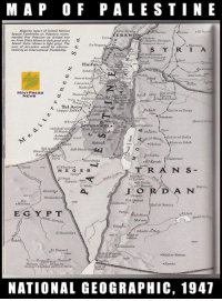 Memes, National Geographic, and Racist: M A P 0 F PALESTINE  report of United Nations  EBANO  mended that Atteseine be divided inco  an Arab State  Jewish State  EnNagu  area of Jerusalem  tered by  International Trusteeship  Acre  Shafi  Haifa  AthN  MINT PRESS  NEWS  Tel Aviv  Essar  Jaffa  Hara  El Kerak  T R A N s  EIKhalasa  NE G E B  ErBurwira  J O R D A N  Hasana  P T  Maan.  Ea Kunrilla  Wadier Retem  NATIONAL GEOGRAPHIC, 1947 Palestine exists. Before the Zionist occupation, it was a land where all religions lived in relative harmony, as opposed to the current system of racist apartheid. http://www.mintpressnews.com/mnar-muhawesh-end-apartheid-a-one-state-solution-is-the-only-solution-for-peace-in-israelpalestine/202649