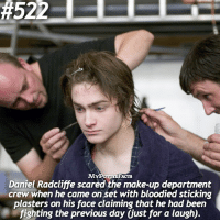 Daniel Radcliffe, Memes, and Prank: M  ACTS  Daniel Radcliffe scared the make-up department  crew when he came on Set with bloodied sticking  plasters on his face claiming that he had been  fighting the previous day Gust for a laugh). QOTD: Have you ever played a prank on someone? 🙈🎲 . @forevermaddy_ @hpfashion934