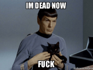 Im dead now fuck - Spock and Cat Meme | Make a Meme: M DEAD NOW  FUCK  makeameme.org Im dead now fuck - Spock and Cat Meme | Make a Meme