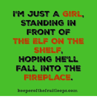 Burn, you little shit. (via: Keeper of The Fruit Loops): M JUST A GIRL  STANDING IN  FRONT OF  THE ELF ON THE  SHELF.  HOPING HELL  FALL INTO THE  FIREPLACE.  keeper ofthe fruitloops com Burn, you little shit. (via: Keeper of The Fruit Loops)
