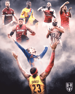 Celebrations inspired by the NBA 🤝: M  Laies  betway  MANSON  Mosil  MIAMI  0KETS  6  73  Ra  JAMES  BR  $23  FOOTBALL Celebrations inspired by the NBA 🤝