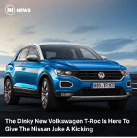 Via @carthrottlenews - Compact on the outside but surprisingly spacious on the inside, the new Volkswagen T-Roc is a little brother to the Tiguan and Touareg SUVs, and it's gunning for the class leaders.: M) NEWS  OBe TR 105  The Dinky New Volkswagen T-Roc ls Here To  Give The Nissan Juke A Kicking Via @carthrottlenews - Compact on the outside but surprisingly spacious on the inside, the new Volkswagen T-Roc is a little brother to the Tiguan and Touareg SUVs, and it's gunning for the class leaders.