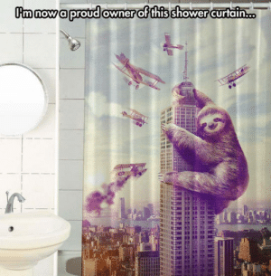 Shower, Tumblr, and Blog: m nowa proud owner of this shower curtain... srsfunny:Kong Sloth Curtain