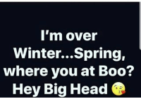 Boo, Head, and Memes: 'm over  Winter...Spring,  where you at Boo?  Hey Big Head