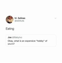 """Funny, Memes, and Best: M. Salinas  @okMute  Eating  Joe @Babylvo  Okay, what is an expensive """"hobby"""" of  yours? @funny posts the best memes 😂"""
