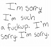 Sorry, Im Sorry, and Such: 'm so  I'm such  a fuckup. T'm  Sory. I'm sorry