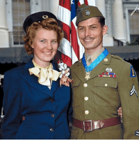 "Memes, Army, and Call of Duty: m-Ter  OU ""Hacksaw Ridge"" - Desmond Thomas Doss & his wife Dorothy After receiving the Medal of Honor from President Harry Truman on October 12, 1945 - Desmond Thomas Doss February 7, 1919 – March 23, 2006 United States Army corporal who served as a combat medic with an infantry company in World War II. After distinguishing himself in the Battle of Okinawa, he became the first conscientious objector to receive the Medal of Honor for actions above and beyond the call of duty. He is also the only conscientious objector to receive the medal during World War II - medalofhonor (Colorised by Paul Kerestes from Romania)"