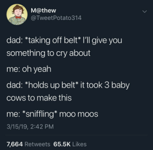 "Dad, Yeah, and MeIRL: M@thew  @TweetPotato314  dad: ""taking off belt"" lll give you  something to cry about  me: oh yeah  dad: ""holds up belt* it took 3 baby  cows to make this  me: *sniffling* moo moos  3/15/19, 2:42 PM  7,664 Retweets 65.5K Likes meirl"