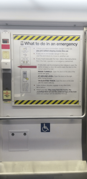 DC Metro: the absolute GOAT of garbage UI: M What to do in an emergency  • Unless you are in immediate danger in this car,  you are safest staying inside this car.  Lit emergency door  release cover  If you are in immediate danger in this car,  use the end doors to move to another car.  LFT CONER  PLL NANOLE  Pul red hande down.  If you must evacuate the train, follow the instructions  from the train operator or emergency personnel.  Side door panels open  If instructed, use the emergency door release to open the  center emergency door. Be sure to open the door on the  correct side of the train:  INSIDE TUNNELS: Open the door on the side of the  tunnel with lights.  AT GROUND LEVEL: Open the door on the right  when facing forward.  ON ELEVATED TRACK: Open the door on the side  with the raised walkway.  To call the train  operator on the  intercom, press  Leave strollers, bicycles, luggage or any other bulky  items behind.  the red button  once (do not  hold it down  Watch your step. Stay away from the tracks, the  electrified third rail and the undercarriage of the train  which is in contact with the electrified third rail.  whie taking).  EMERGENCY  ONLY  PUSH TO  TALK  CAR#7101  9) DC Metro: the absolute GOAT of garbage UI