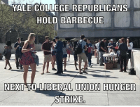 STRAIGHT SAVAGE 😂😂 A group of Yale College Republicans hosted a barbecue on Friday, right next to eight graduate students teachers who were taking part in a 'hunger strike.' According to sources, the graduate students were striking due to the university being unwilling to work with their newly formed union. 😂 LIKE & TAG YOUR FRIENDS ------------------------- 🚨Partners🚨 😂@the_typical_liberal 🎙@too_savage_for_democrats 📣@the.conservative.patriot Follow: @rightwingsavages & @allamericansmokeshows Like us on Facebook: The Right-Wing Savages Follow my backup page @tomorrowsconservatives -------------------- conservative libertarian republican democrat gop liberals maga makeamericagreatagain trump liberal american donaldtrump presidenttrump american 3percent maga usa america draintheswamp patriots nationalism sorrynotsorry politics patriot patriotic ccw247 2a 2ndamendment: M  YALE COLLEGE REPUBLICANS  HOLD BARBECUE  NEXT TO LIBERAL UNION HUNGER  STRIKE STRAIGHT SAVAGE 😂😂 A group of Yale College Republicans hosted a barbecue on Friday, right next to eight graduate students teachers who were taking part in a 'hunger strike.' According to sources, the graduate students were striking due to the university being unwilling to work with their newly formed union. 😂 LIKE & TAG YOUR FRIENDS ------------------------- 🚨Partners🚨 😂@the_typical_liberal 🎙@too_savage_for_democrats 📣@the.conservative.patriot Follow: @rightwingsavages & @allamericansmokeshows Like us on Facebook: The Right-Wing Savages Follow my backup page @tomorrowsconservatives -------------------- conservative libertarian republican democrat gop liberals maga makeamericagreatagain trump liberal american donaldtrump presidenttrump american 3percent maga usa america draintheswamp patriots nationalism sorrynotsorry politics patriot patriotic ccw247 2a 2ndamendment