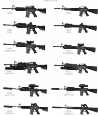 Memes, Mondays, and Military: M4A1  (CQB]  M4A1  IMARKSMAN)  (ASSAULT)  M4A1  (NIGHT OPS)  M4A1  STEALTH)  ASSAULURIFLES  M16A4  M16AA  (COB)  M16A4  (MARKSMAN)  M16AA  DASSAULT]  M16AA  (NIGHT OPS)  M16A4  (STEALTH] Which one do you choose ? sa_alphaco assaultrifle chooseone tactical ammo firepower lockandload military militarylife militarystyle militaryporn mondays