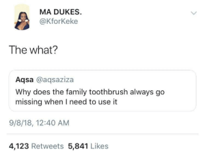 Dank, Family, and Memes: MA DUKES  @KforKeke  The what?  Aqsa @aqsaziza  Why does the family toothbrush always go  missing when I need to use it  9/8/18, 12:40 AM  4,123 Retweets 5,841 Likes You guys ever lose it too? by 32px MORE MEMES