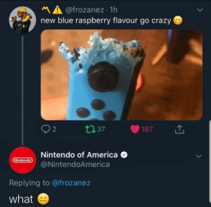 Memes disguised as a dump: MA @frozanez · 1h  new blue raspberry flavour go crazy O  27 37  187  Nintendo of America O  @NintendoAmerica  Nintendo  Replying to @frozanez  what Memes disguised as a dump