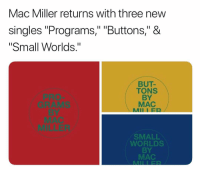 "Mac Miller, Memes, and Pro: Mac Miller returns with three new  singles ""Programs,"" ""Buttons,"" &  ""Small Worlds.""  PRO  GRAMS  BY  BUT-  TONS  BY  MAC  MII I ER  MILLER  SMALL  WORLDS  BY  MAC macmiller has recently released 3 new singles. ✔️"