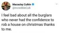 culkin: Macaulay Culkin  @IncredibleCulk  I feel bad about all the burglars  who never had the confidence to  rob a house on christmas thanks  to me.