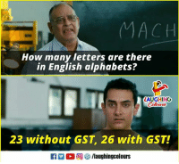 English, Indianpeoplefacebook, and How: MACH  How many letters are there  in English alphabets?  LAUGHING  23 without GST, 26 with GST!  f/laughingcolours