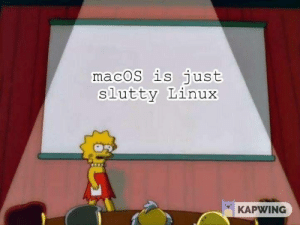 Linux, Macos, and Just: macoS is just  slutty Linux  KAPWING Linox