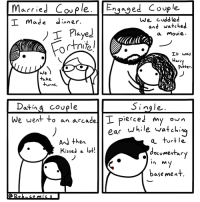 Weird, Movie, and Single: Macriel Cople. Engaged Couple.  I made dinner.  nqaqe  We cuddled  I PlayeJ  and watehed  a Movie.  I+ was  arr  Potter.  We  take  4Jrns  Datina covple  ingle.  we went to an arcade I piercei my on  ear while vatchii  And then  KisseJ a o!  vrt le  documeitar  base met Being single is weird. (OC)