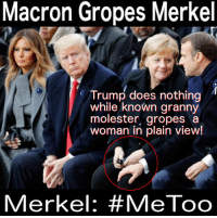 Plain View: Macron Gropes Merkel  Trump does nothing  while known granny  molester, gropes a  woman in plain view!  Merkel: