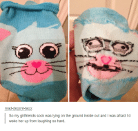 inside out: mad-decent-taco:  So my girlfriends sock was lying on the ground inside out and l was afraid Id  wake her up from laughing so hard.