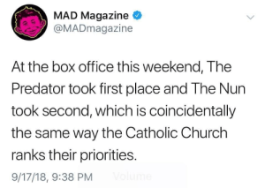 Church, Memes, and Box Office: MAD Magazine  @MADmagazine  At the box office this weekend, The  Predator took first place and The Nun  took second, which is coincidentally  the same way the Catholic Church  ranks their priorities.  9/17/18, 9:38 PM *Ouch* via /r/memes https://ift.tt/2xIxE4c