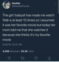 """<p>[WALL-E follows EVE as Louis Armstrong&rsquo;s &ldquo;La Vie En Rose&rdquo; plays] via /r/wholesomememes <a href=""""https://ift.tt/2MJ6ZLi"""">https://ift.tt/2MJ6ZLi</a></p>: Maddie  @MaddiePoolee  The girl I babysit has made me watch  Wall-e at least 10 times so assumed  it was her favorite movie but today her  mom told me that she watches t  because she thinks it's my favorite  movie  6/20/18, 10:31 AM  4,599 Retweets 55.3K Likes <p>[WALL-E follows EVE as Louis Armstrong&rsquo;s &ldquo;La Vie En Rose&rdquo; plays] via /r/wholesomememes <a href=""""https://ift.tt/2MJ6ZLi"""">https://ift.tt/2MJ6ZLi</a></p>"""
