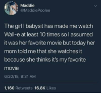 <p>thats adorable</p>: Maddie  @MaddiePoolee  The girl I babysit has made me watch  Wall-e at least 10 times so lI assumed  it was her favorite movie but today her  mom told me that she watches it  because she thinks it's my favorite  movie  6/20/18, 9:31 AM  1,160 Retweets 16.8K Likes <p>thats adorable</p>