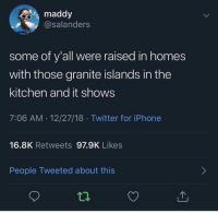 Blackpeopletwitter, Iphone, and Twitter: maddy  @salanders  some of y'all were raised in homes  with those granite islands in the  kitchen and it shows  7:06 AM. 12/27/18. Twitter for iPhone  16.8K Retweets 97.9K Likes  People Tweeted about this It shows (via /r/BlackPeopleTwitter)