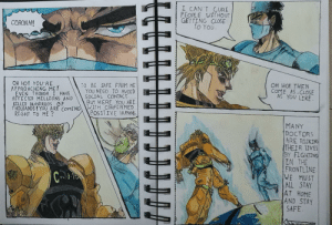 Made dis jojo reference in my sketchbook for a random sit at home competition.: Made dis jojo reference in my sketchbook for a random sit at home competition.