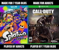 Xbox One, Xbox, and Vision: MADE FOR 7 YEAR OLDS  MADE FOR ADULTS  ) XBOX ONE  CALL DUTY  OF  ADANCED VARFAPE  VISION  PLAYED BY ADULTS  PLAYED BY 7 YEAR OLDS Can't deny that! https://t.co/Fn21mMAMsX