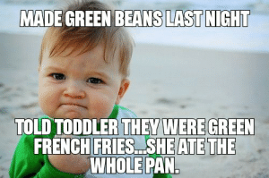 French, Pan, and French Fries: MADE GREEN BEANS  LAST NIGHT  TOLD TODDLER THEY WERE GREEN  FRENCH FRIES.. SHE ATE THE  WHOLE PAN Parent win for sure!